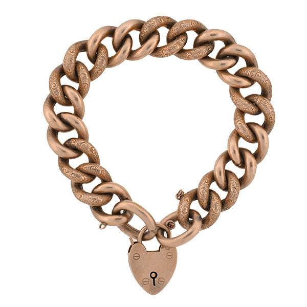 Victorian 9kt Cuban Link Bracelet with Padlock Heart Clasp