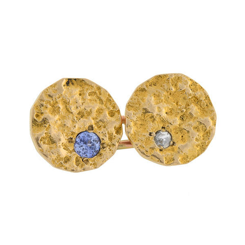 Edwardian 14kt Textured Gold Diamond & Sapphire Cufflinks