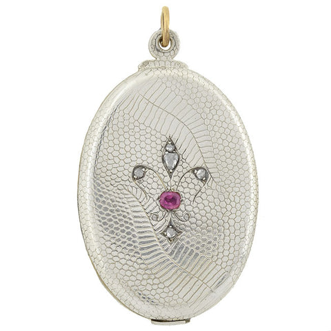 Victorian Sterling Ruby & Diamond Fleur-de-Lys Slide Locket