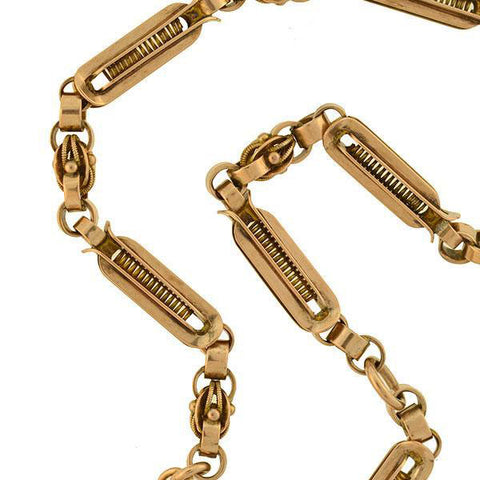 Victorian 14kt Rose Gold Heavy Link Watch Chain 16""