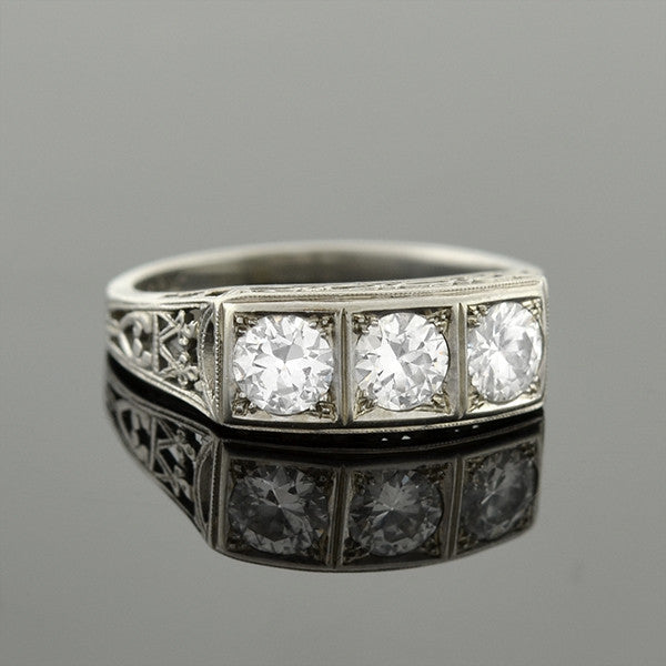 Art Deco 18kt 3-Stone Diamond Filigree Gypsy Ring .75ctw