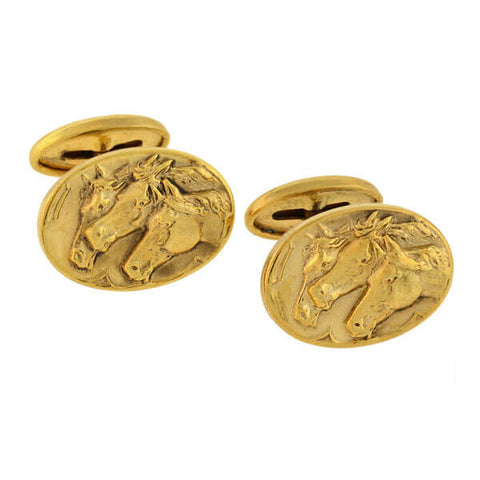 Late Victorian 10kt Gold Photo Finish Multi Horse Motif Cufflinks