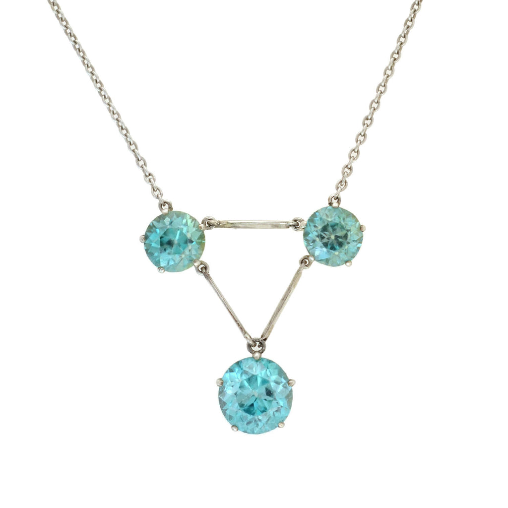 Edwardian Sterling + Natural Blue Zircon 3-Stone Necklace