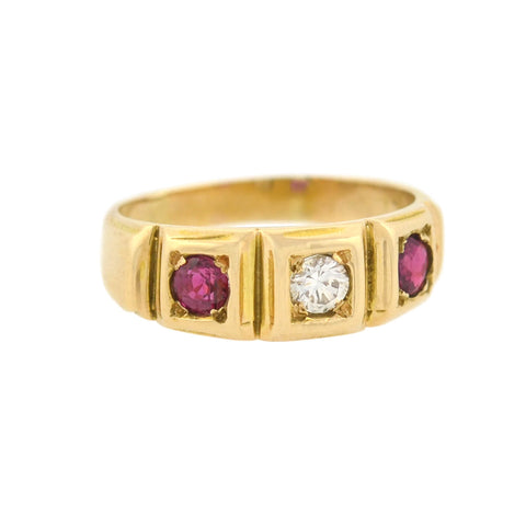 Victorian 18kt Ruby + Diamond 3-Stone Ring