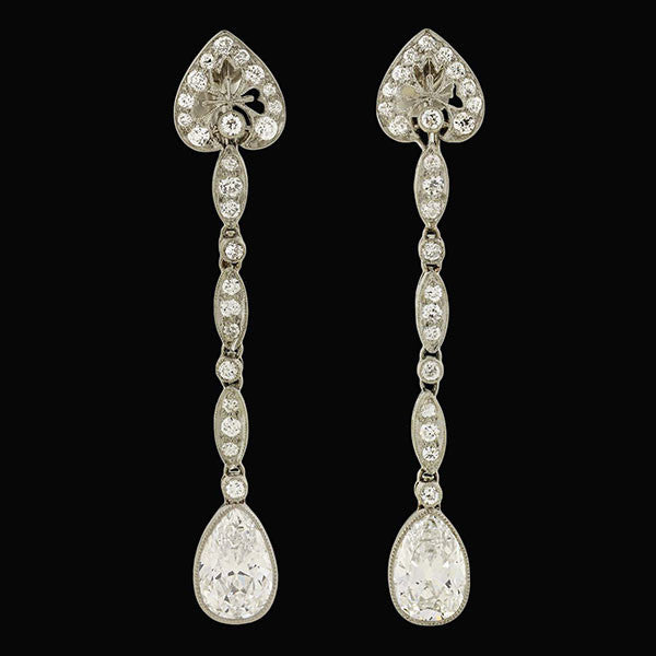 TIFFANY & CO. Art Deco Platinum Diamond Teardrop Earrings 3.25ctw