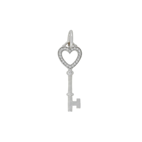 "TIFFANY & Co. Estate 18kt Diamond ""Mini Heart Key"" Pendant"