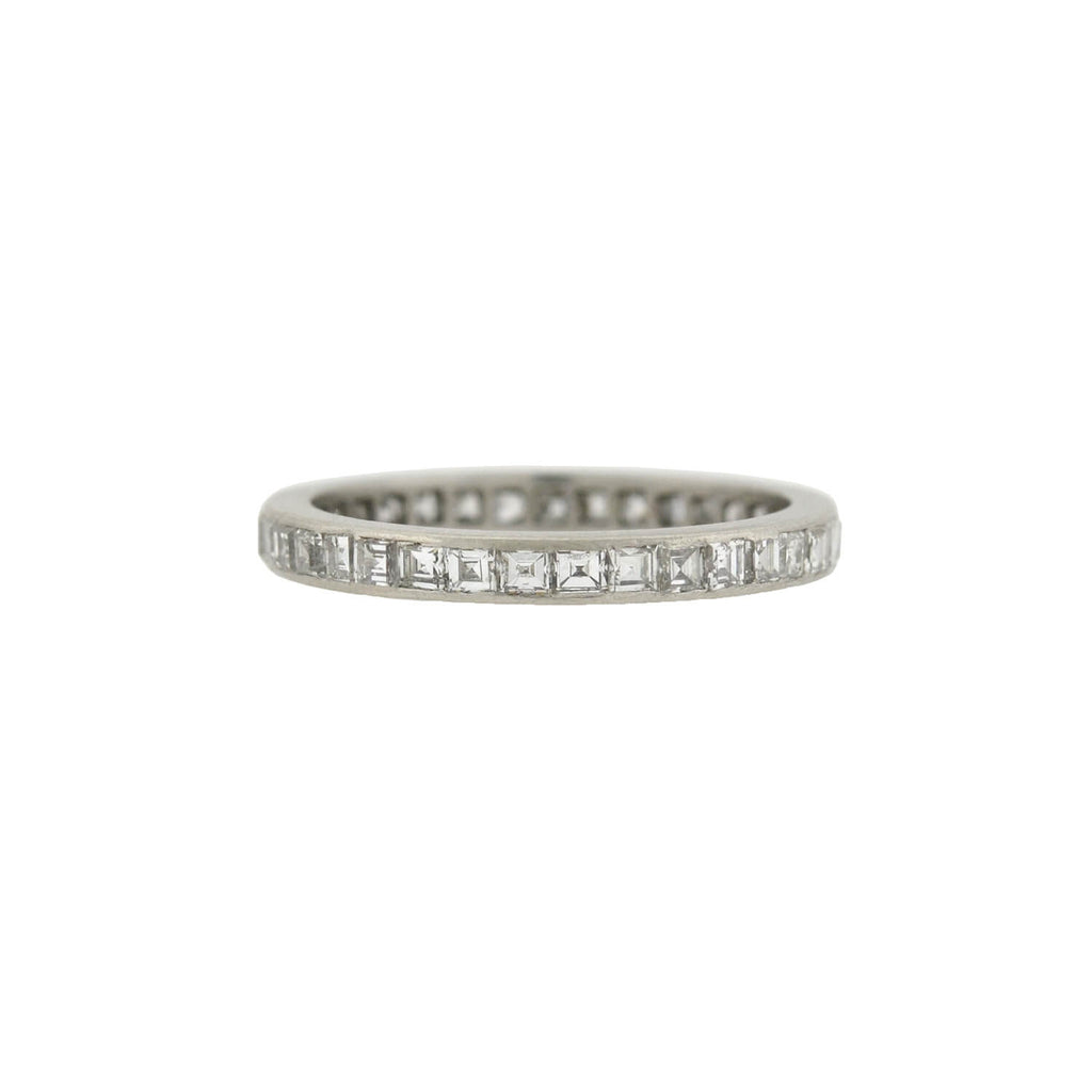 TIFFANY & CO. Art Deco Platinum Carré Cut Diamond Eternity Band 1.25ctw