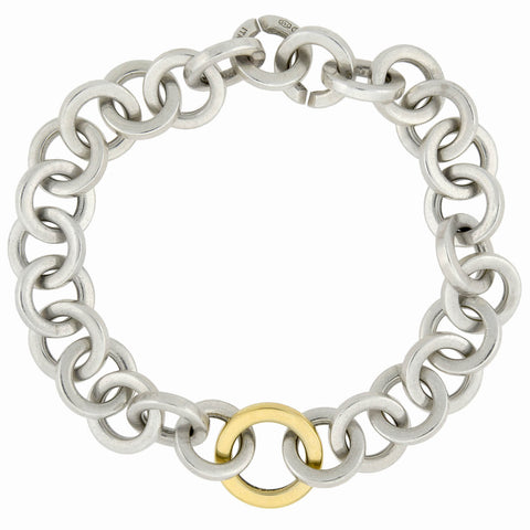 TIFFANY & Co. Estate 18kt/Sterling Interlocking Link Bracelet