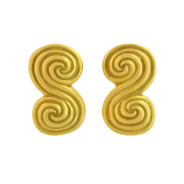 TIFFANY & CO. Estate 18kt Double Spiral Clip-On Earrings