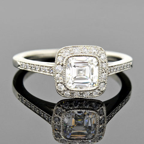Art Deco Plat & 18kt Diamond Engagement Ring .35ct