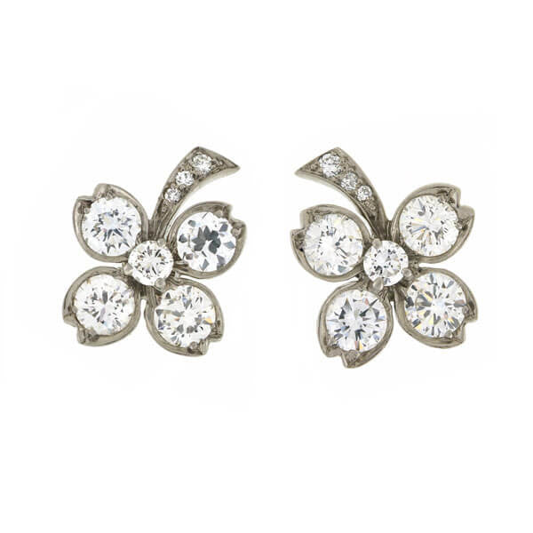 TIFFANY & Co. Retro Palladium Diamond Clover Stud Earrings