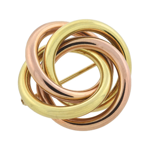 TIFFANY & CO. Retro 14kt Two-Tone Yellow + Rose Gold Love Knot Pin
