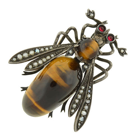 Late Victorian Tiger's Eye, Pearl & Ruby Bug Pin