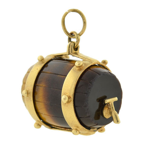 Victorian 14kt Tiger's Eye Carved Barrel Fob/Pendant