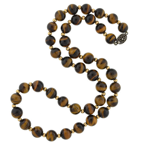 Retro Silver Gilt & Tiger's Eye Bead Necklace 27""