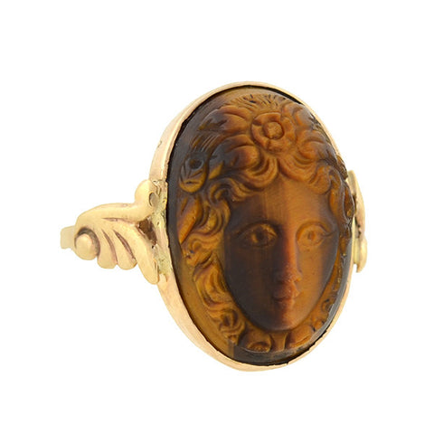 Late Victorian 10kt Carved Tiger's Eye Cameo Ring
