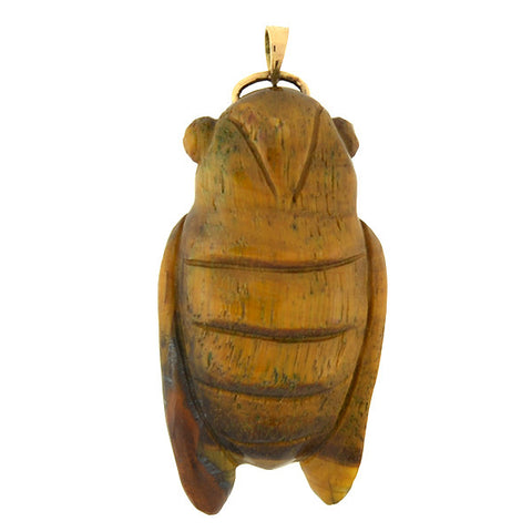 Vintage 14kt Carved Tiger's Eye Cicada Pendant