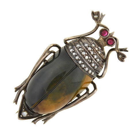Victorian Sterling Tiger's Eye & Seed Pearl Beetle Pin