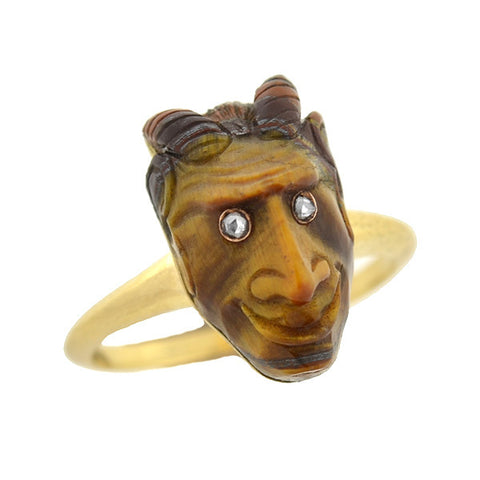 Victorian Style 18kt Carved Tiger's Eye Devil Ring