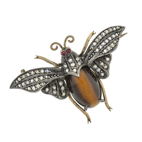 Victorian Sterling Tiger's Eye & Seed Pearl Bug Pin