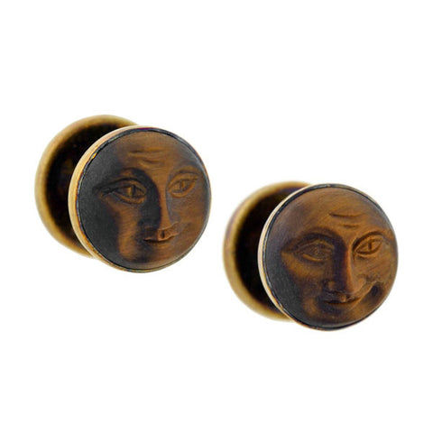 "Victorian 14kt Carved Tiger's Eye ""Man in the Moon"" Cufflinks"