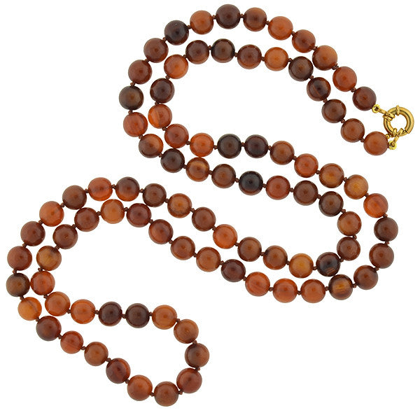 "Victorian Tortoise Shell Bead Necklace 40"" length"