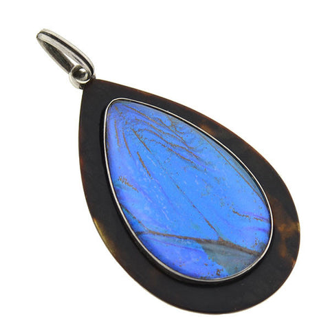 Art Deco Sterling Tortoise Shell & Real Butterfly Wing Teardrop Pendant