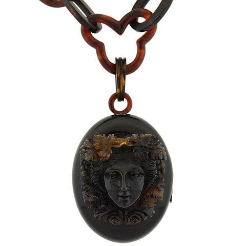 Victorian Carved Tortoise Shell Dionysus Locket & Chain