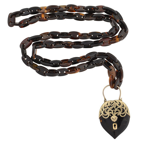 Victorian Tortoise Shell Anchor Link Chain & Padlock Necklace