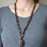 Victorian Carved Tortoise Shell Chain & Locket Necklace