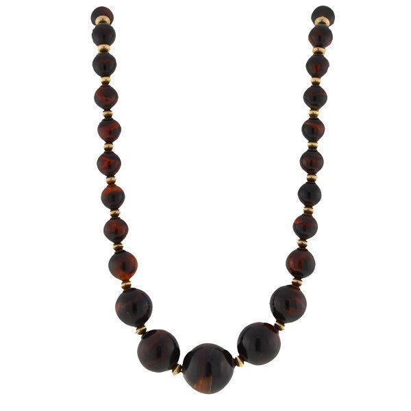 Late Victorian 14kt & Tortoise Shell Bead Necklace 26""