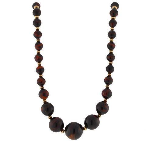 Late Victorian 14kt & Tortoise Shell Bead Necklace