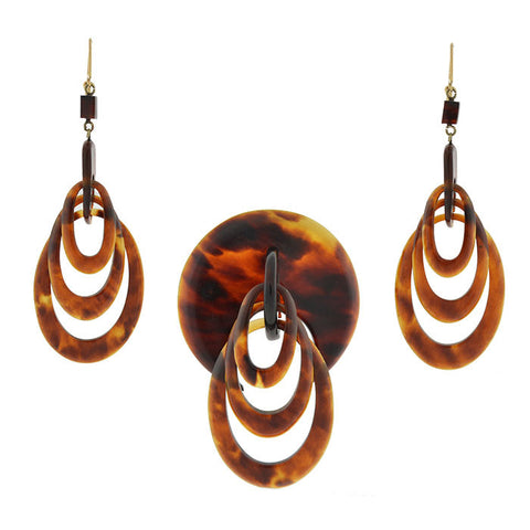 Victorian Hand Carved Tortoise Shell Earring & Pin Set