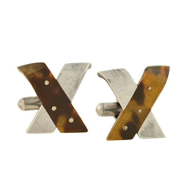 "ANTONIO PINEDA Vintage Sterling + Tortoise Shell ""X"" Cufflinks"