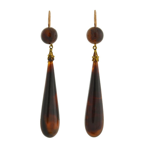 Victorian Dramatic Teardrop Tortoise Shell Earrings
