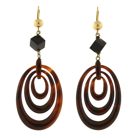 Victorian 14kt Tortoise Shell 3-Hoop Earrings