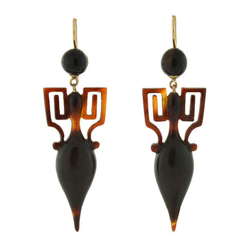 Victorian 14kt Carved Tortoise Shell Urn Earrings