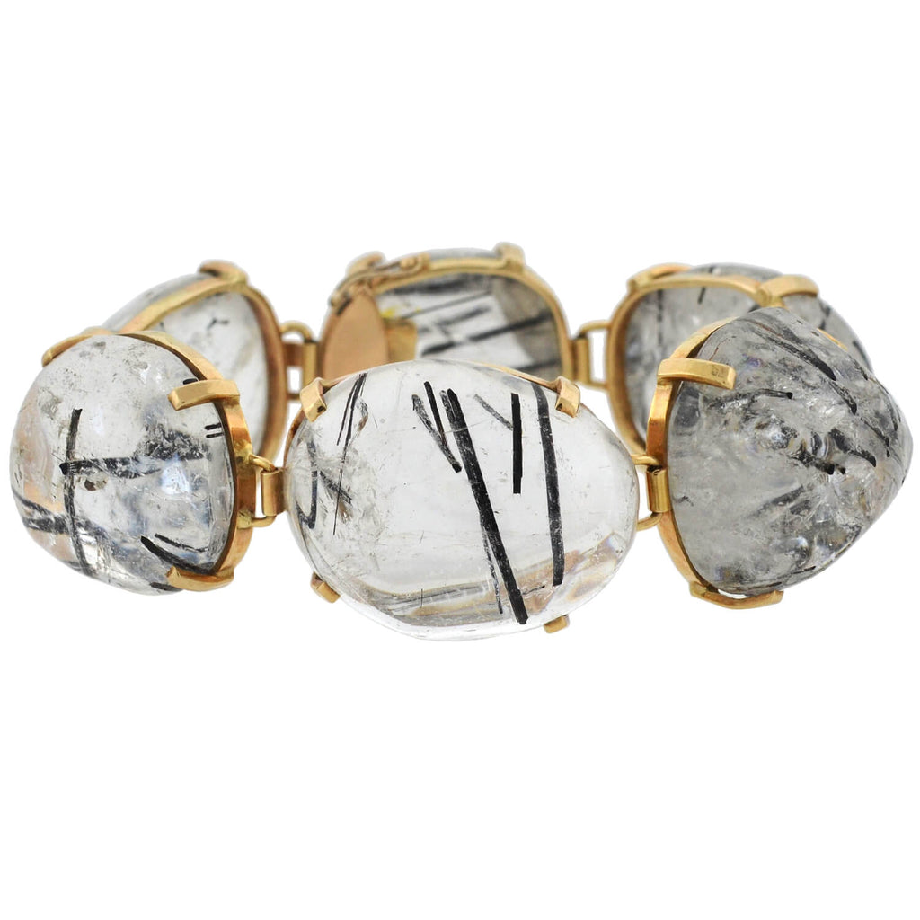Retro Large 14kt Black Tourmalinated Quartz Link Bracelet