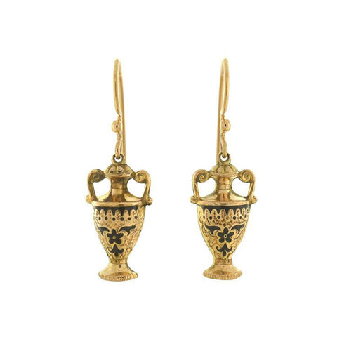 Victorian Petite Gold-Filled Black Tracery Urn Earrings