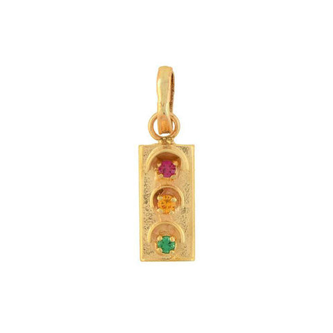 Vintage 14kt Multi-Colored Crystal Traffic Light Charm