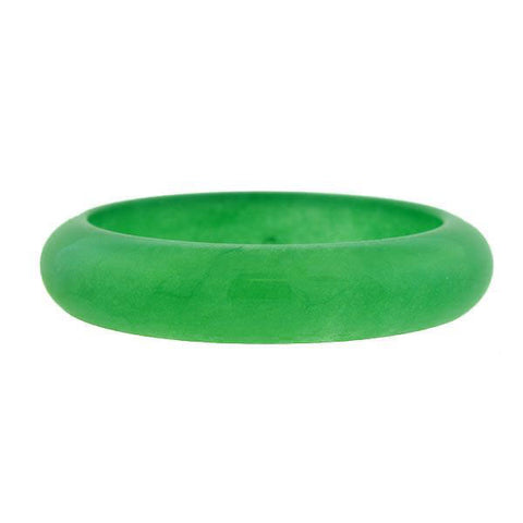 Estate Carved Green Jade Solid Slip-On Bangle Bracelet