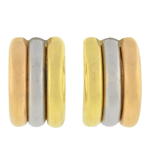 Estate 18kt Gold Tricolor Half-Hoop Earrings