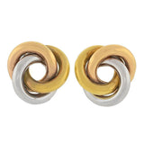 Retro 18kt Tri-Color Gold Love Knot Stud Earrings