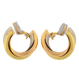 CARTIER 18K Estate 3-Tone Trinity Hoop Clip Earrings