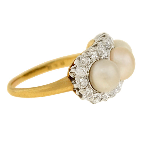 Edwardian 18kt/Platinum Diamond + Natural Pearl Trio Ring 1.35ctw