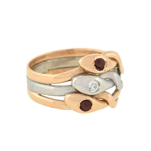 Edwardian Mixed Metals Garnet & Diamond Triple Snake Ring