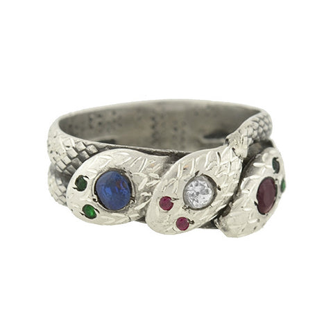 Victorian Rare Sterling & Multi Gemstone Triple Snake Ring