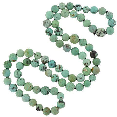 Estate Turquoise Matrix Bead Necklace 32""