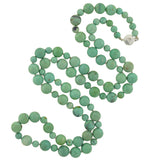 Estate Long Turquoise Bead Necklace & Diamond Clasp