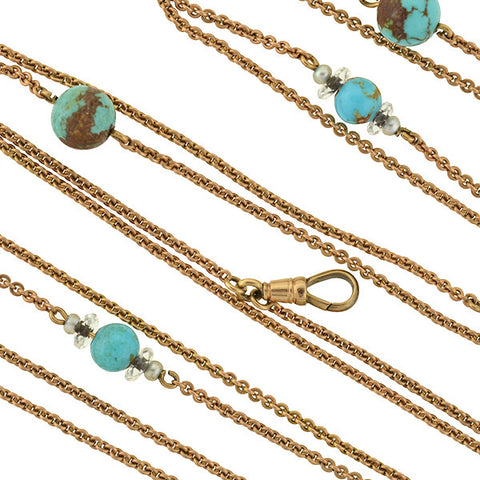 Late Victorian Long 14kt Turquoise Matrix Bead Chain 54""